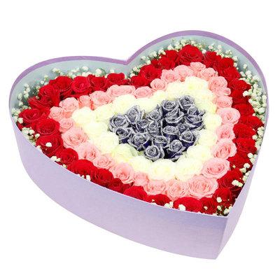 心心相惜 (99 红玫瑰 粉玫瑰 白玫瑰 蓝色妖姬  爱情 情人 七夕 圣诞 生日 礼盒 求婚)