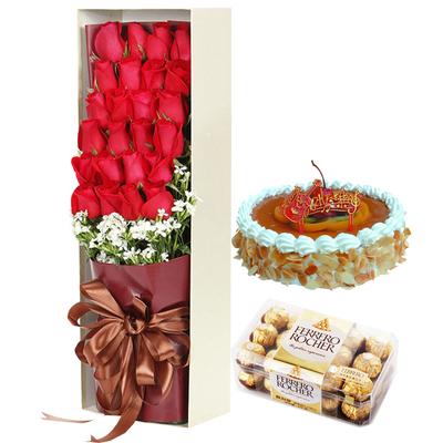 梦中人(鲜花+巧克力+蛋糕) 8寸蛋糕
