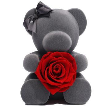 永生玫瑰小熊抱花礼盒