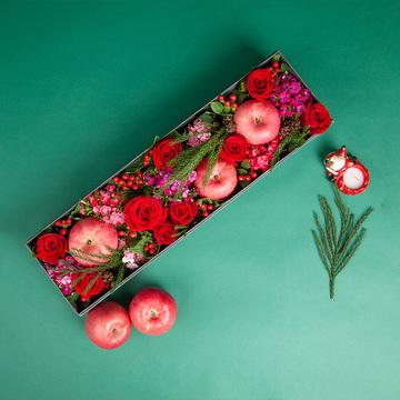 甜蜜圣诞-红玫瑰+苹果圣诞礼盒
