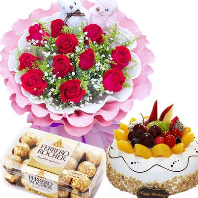 爱你一万年(鲜花加+巧克力+蛋糕) 8寸蛋糕