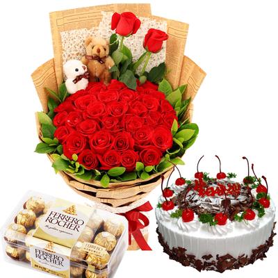 爱就一个字组合(鲜花+巧克力+蛋糕) 8寸蛋糕