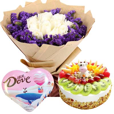 恋爱龙卷风(鲜花+巧克力+蛋糕) 8寸蛋糕