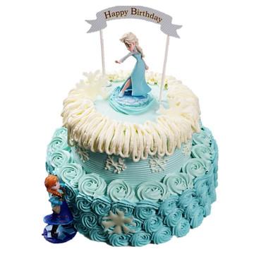 冰雪奇缘双层蛋糕 14寸下10寸上