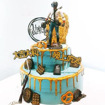 绝地求生生日蛋糕D款 10寸下6寸上